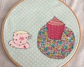 Tea and Cake Hoop Art | Cake and Cup Applique | Freehand Embroidery | Cupcake Picture