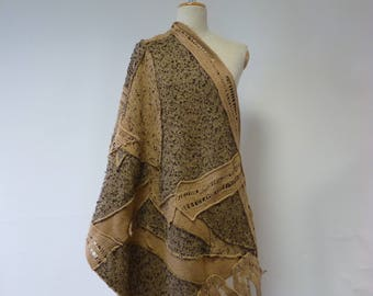 Handmade warm camel felted shawl. Perfect for gift.