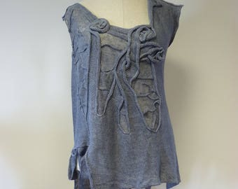 Special price. Artsy jeans coloured linen top, L size.