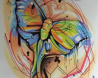 Butterfly pen and pencil hand drawn prison art