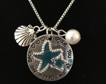 I love you to the beach and back necklace