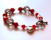 Red jade bracelet, facete...