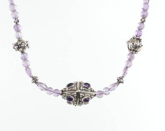 Amethyst Necklace with Custom Silver with Amethyst Beads