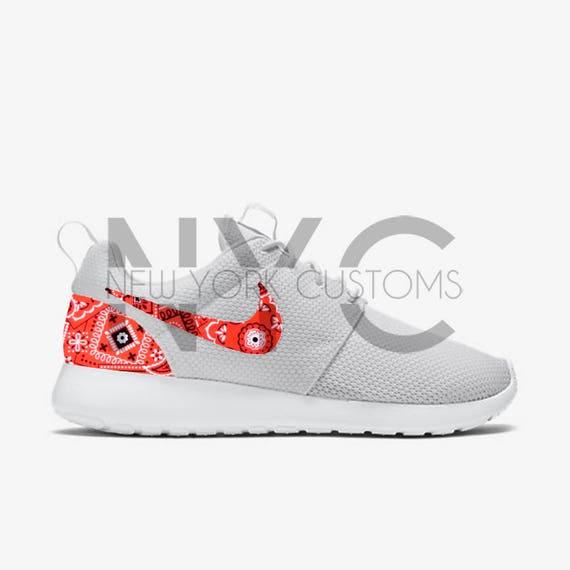 b802b9e38dd Red Bandana Paisley Nike Roshe One Custom Men Women   Kids 50%OFF ...