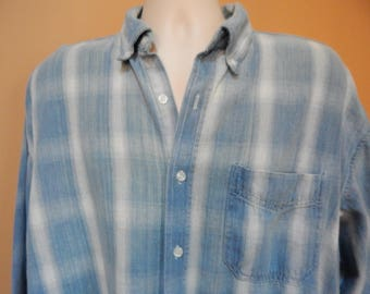 80s/90s mens button-down shirt, blue and white stripes, Reform Club label, lightweight denim