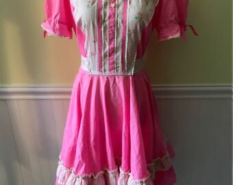 Vintage Bubblegum Pink Rockabilly Style Dress