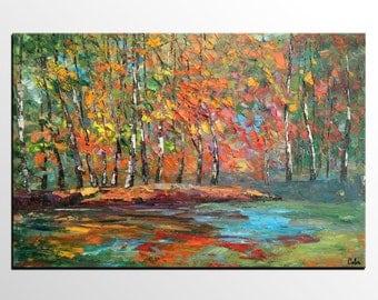Original Oil Painting, Landscape Art Painting, Canvas Art, Large Wall Art, Abstract Modern Art, Autumn Tree Painting, Canvas Oil Painting