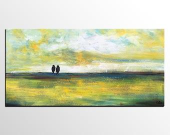 Oil Painting Abstract, Canvas Art, Original Art, Abstract Art, Love Birds Painting, Acrylic Painting, Abstract Painting, Bedroom Wall Art