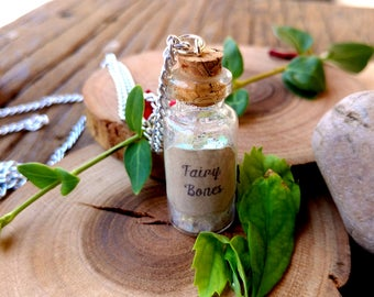 Fairy Bones Potion Bottle Charm Necklace, Glitter Dust, Fairy Tale Jewelry, Faerie Jewelry, Once Upon A Time, Faerie Realm