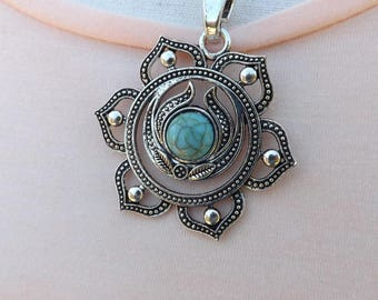 Chakra flower pendant on a stainless steel chain
