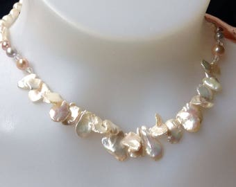 Hand knotted Keishi Pearl Necklace, Freshwater Pearls, Sterling Silver, Nature Pearl Necklace, Bridal Necklace, 17 inches