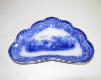 Antique Flow Blue Bone Dish, 1800's England