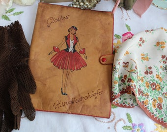Vintage Art Deco Leather Glove & Handkerchief Case with Pair Crochet Gloves and Crepe Hanky with Bird Decoration