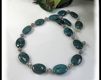 Apatite Blue Green Necklace, Apatite and Bali Silver Necklace, Blue Green Necklace, Apatite Gemstones, Teal Blue Necklace Jewelry