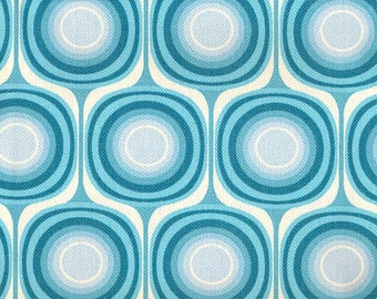 Mondo Canvas in Blue - 60's 70's Retro Reproduction Vintage Fabric - Out Of Print OOP VHTF Remnant