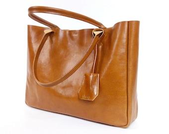 Camel Brown Leather Tote Bag - Handmade Leather Tote - BELLA Medium - Camel Leather Bag