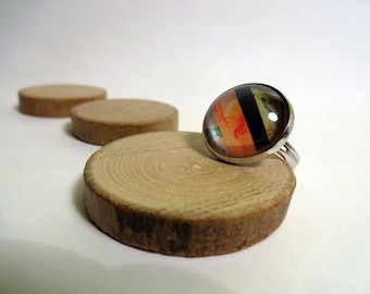 Orange and black - graphic ring 16mm