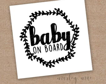 baby on board decal, car decal, window sticker