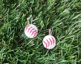 Baseball Earrings- Classic- Silver Plated French Clip