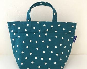 SUMMER SALE! Polka dot lunch tote / picnic bag / weekend tote