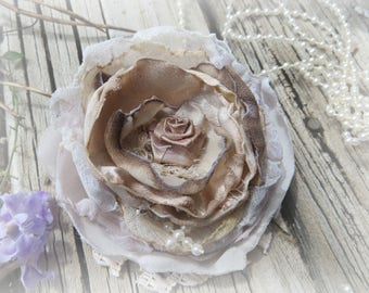 Hand made flowers, Tattered flowers, Fabric flowers, Vintage style flowers,  Layered fabric flowers, Lace Flowers, Decor Flowers, Flowers