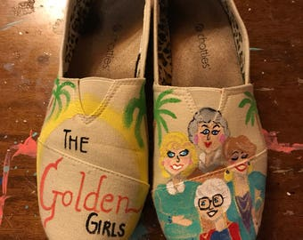 Handpainted Custom Shoes, The Golden Girls slip-ons, muslin, multi-colored, faux Toms, Thank you for being a friend! FREE SHIPPING