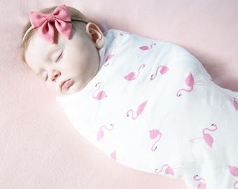 Organic Muslin Swaddle Blanket in The Flamingo Baby, Organic Cotton and Bamboo Muslin Swaddle, Swaddle Blanket