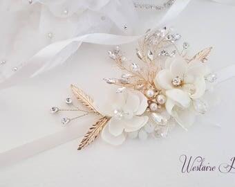 Gold Wedding belt, Gold Bridal belt, Gold bridal sash, Vintage Wedding, Vintage Bride, Ivory Bridal Belt, Style 796