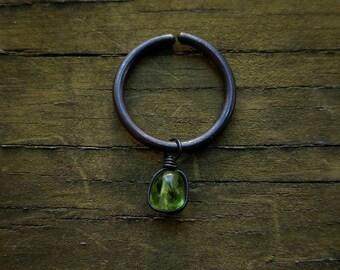Blackened Copper & Peridot Hair Ring // Peridot Gemstone Hair Ring // Black Copper Peridot Hair Accessories // Rustic Hair Rings