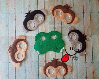 5 Little Monkeys teasing Mr. Alligator masks