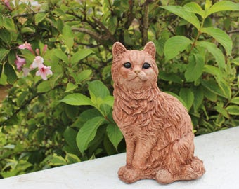 Stone Ornament,  Cat, Garden Decor, Made in Cornwall, Cornwall Stoneware,  Garden Gift Idea, Lawn Decoration, Home and Living