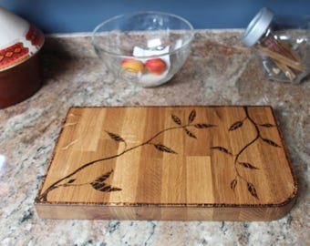 Chopping board - hand burned solid oak - gifts for him - home and kitchen