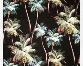 Pre Order -  Fabric Tropical Palm Trees on Black, Cotton Twill Barkcloth Outdoor Leaf Nature Upholstery Sewing Craft