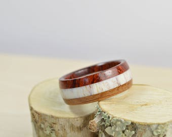Mens Wood Ring ~ Rosewood Antler Whiskey Barrel ~ Natural Wooden Jewelry Men Anniversary ~ Made to Order