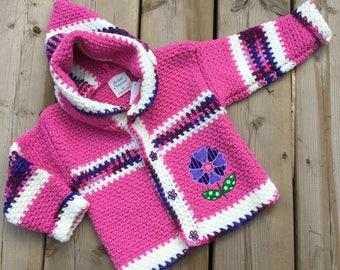 Crochet Baby Sweater, Handmade Flower Sweater, Baby Sweater, Girl Sweater, Boy Sweater - Size 2