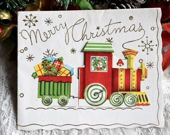 Vintage Christmas Card - Glitter Merry Christmas Train - Used