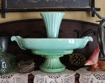 Vintage Pottery Epergne, Rare Epergne, Ceramic Epergne, Turquoise and Green Drip Glaze Epergne Vase, Victorian Green Pottery Centerpiece