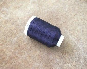 Vintage Gudebrod Bros Silk Thread Spool, Navy Blue, Size F, 185 Yards