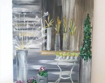 Wall art, Oil painting, canvas art, wall decor, flower art by christinasartwork