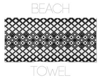 Graphic Towel, Hotel Towels, Geometric Design, Black And White Beach Towel, Modernist Towel
