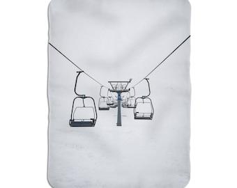 Ski Resort Throw, Ski Cablecar Blanket, Winter Sport Gift, Soft Blanket, Sherpa Throw Blanket, Sherpa Bedding, White Sherpa Blanket