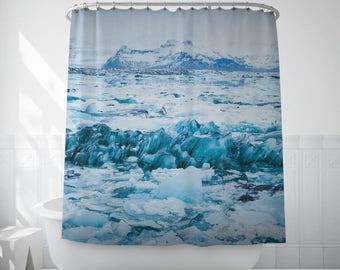 Iceland Landscape Shower Curtain, Cool Bath Curtain, Winter Landscape, Blue Shower Curtain, Shower Screen, Bathroom Accessory, Bathroom Sets