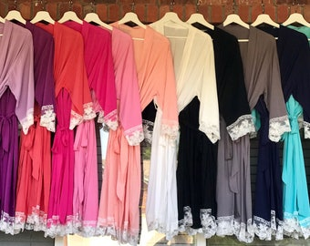 Lace Trimmed Bridesmaid Robes, Wedding Party Robes, Lace Robes, Getting Ready Robes, Wedding Robes, Bridal Robes, Cotton Robes
