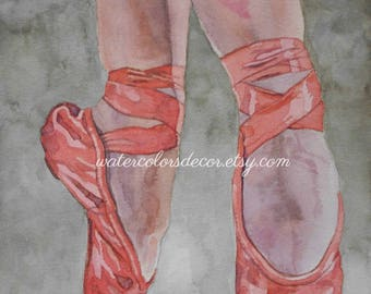 Venice italy watercolor print italy painting venice for Ballet shoes christmas decoration