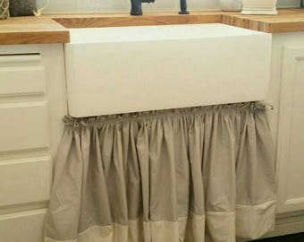 custom made free shipping farmhouse kitchen sink cabinet curtain drape under sink cortage ruffle velcro cover