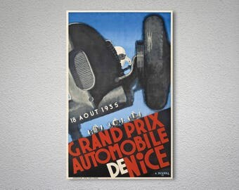 Grand Prix Automobile de Nice, 18 Aout 1935 Vintage Grand Prix Poster - Poster Paper, Sticker or Canvas Print / Gift Idea