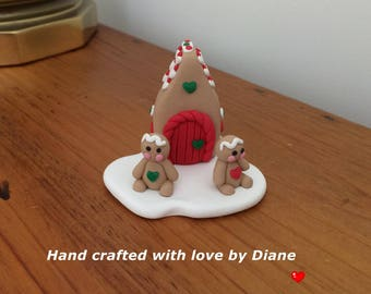 Miniature Mini Hand Crafted Polymer Clay Gingerbread House and Gingerbread Man Men Holiday Decor