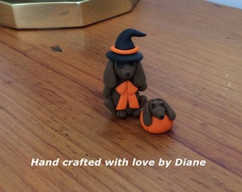 Hand Crafted Miniature Mini Polymer Clay Dachshund Witch and Friend Figurine Halloween Decor