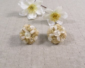 GERMANY! Beautiful Vintage Gold Tone Pair Of Lucite Cluster Beaded Clip On Earrings Signed Germany  DL#3291