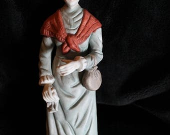 """Summer Sun Sale Bisque Statue of Older Woman with Dog 13"""" Tall"""